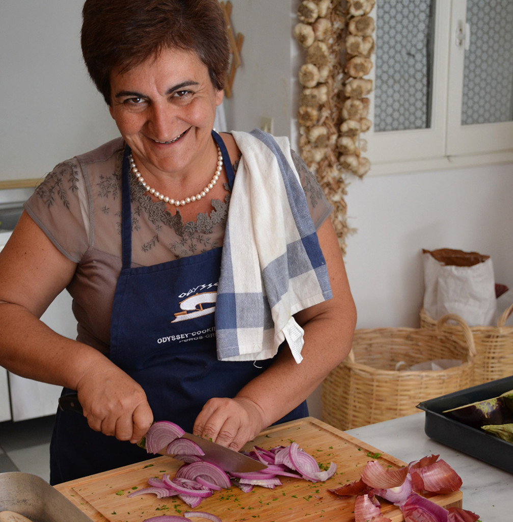 Katerina hosting her Greek Cooking Workshop