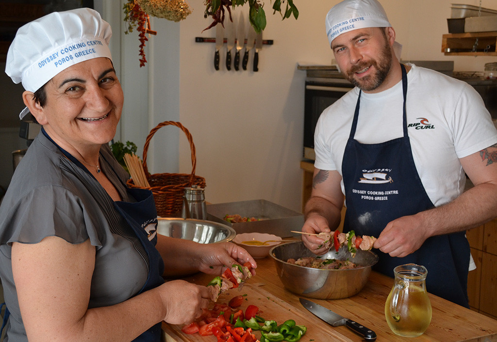 Making Greek dishes during the cooking workshop