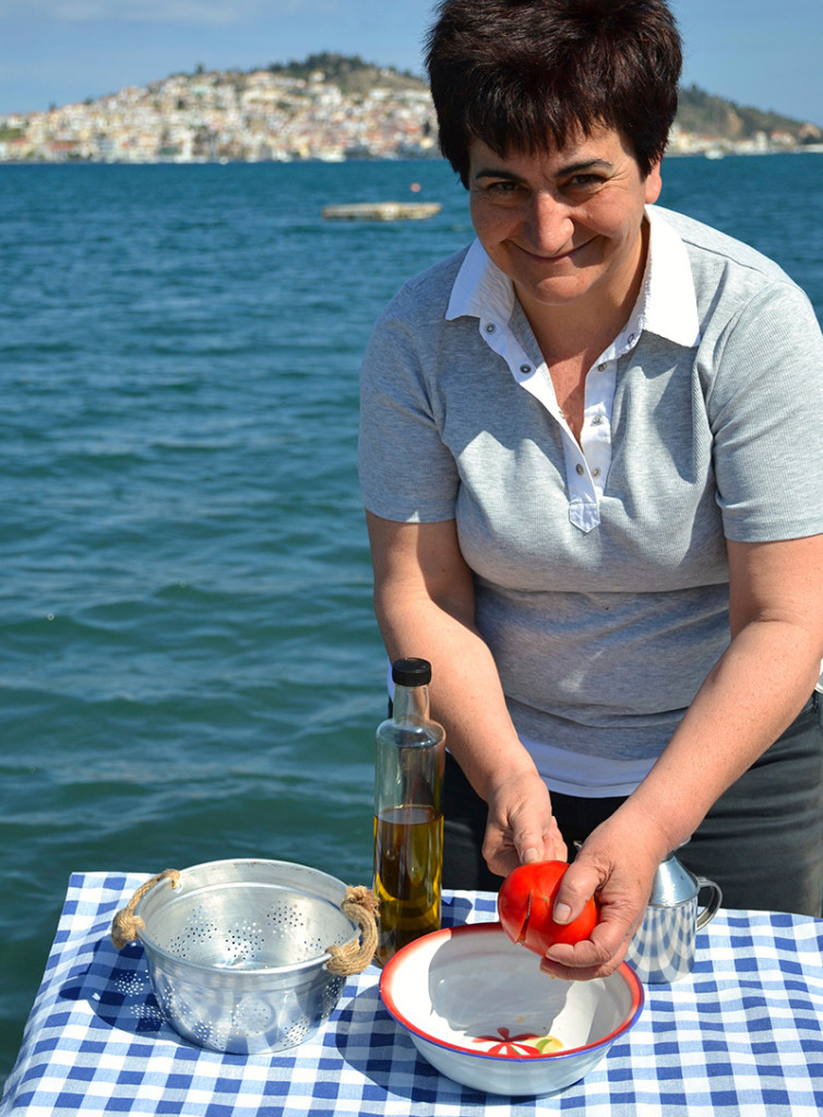 Katerina-making-Dakos-Odyssey-Poros-Greece
