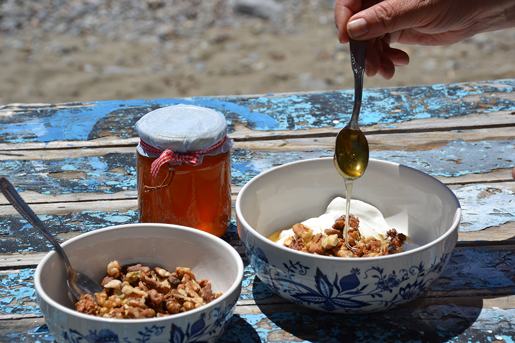 Greek-yoghurt-with-honey-and-walnuts-odyssey-poros-greece