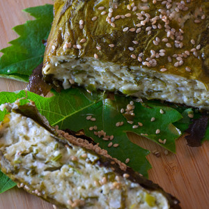 Cheese-pie-with-grape-leaves-Odyssey-Poros-Greece