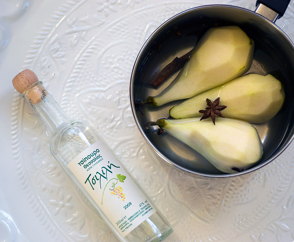 Cooking pears in ouzo and herbs