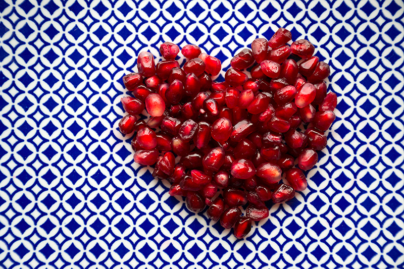 A heart of pomegranates