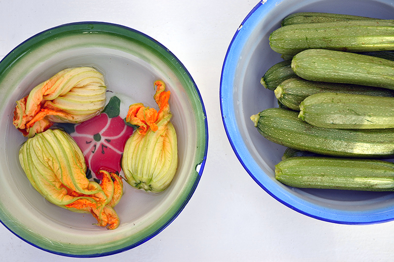 Gather the zucchini blossoms