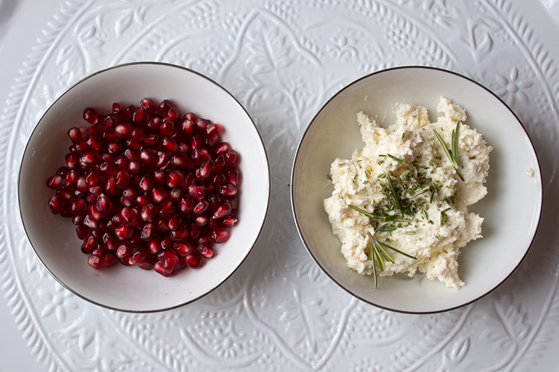 Pomegranate seeds and cheese mixture