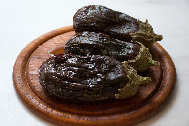Eggplants for the Melizanosalata with roasted pepper Odyssey Poros Greece