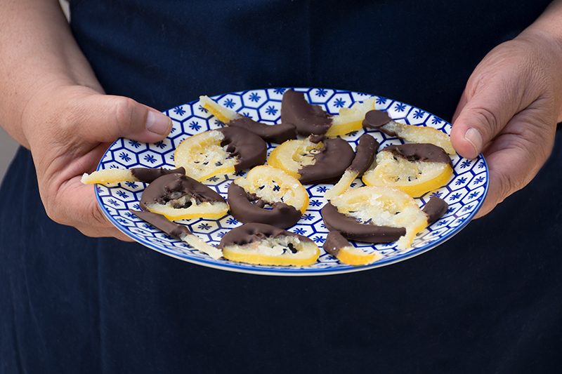Katerinas Sugared Lemon Slices With Chocolate Odyssey Poros Greece Greek cooking class