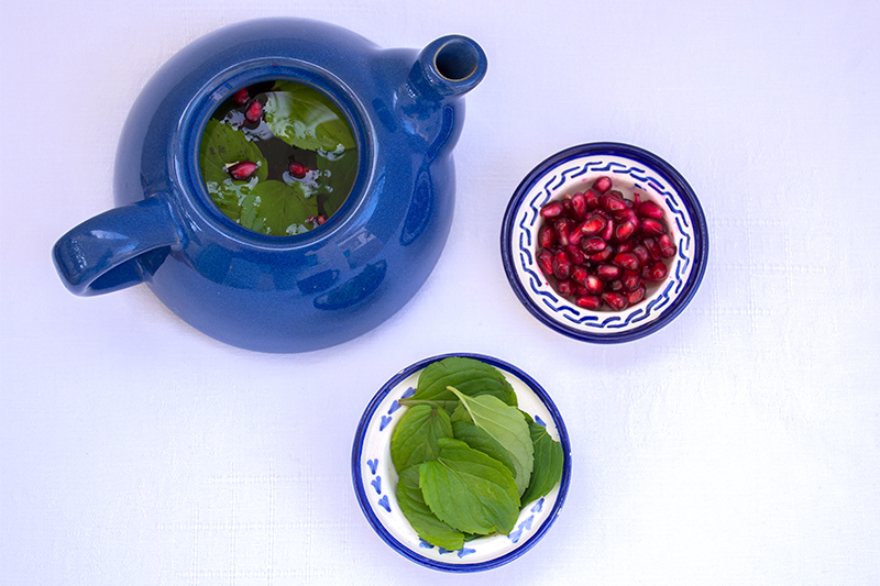 Odysseys Pomegranate-mint tea Poros Greece food photography