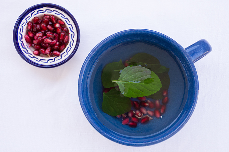Pomegranate-mint tea from Odyssey Poros Greece food photography