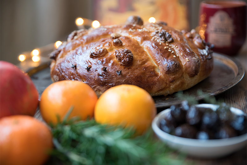 Christopsomo Greek Christmas bread Odyssey Poros Greece