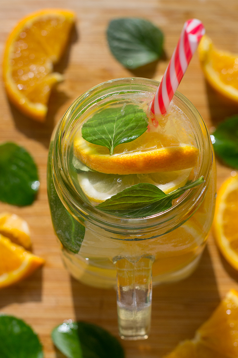 Lemon Orange Mint Ginger Lemonade Odyssey Poros Greece food photography