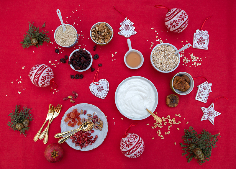 Ingredients yoghurt with Greek granola Odyssey Christmas Breakfast Poros