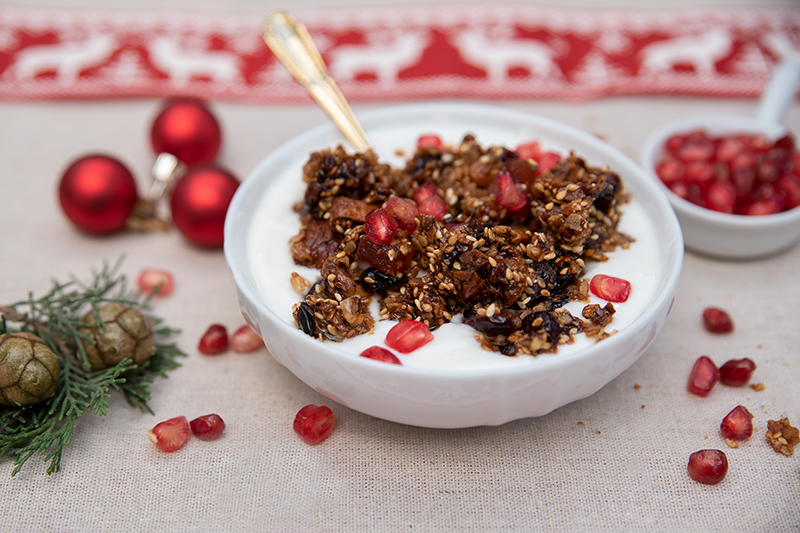 Yoghurt with Greek granola Christmas breakfast Odyssey Poros Greece Christmas recipes