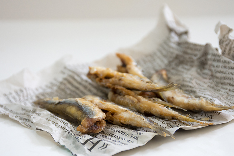 Fried anchovies Greek style Poros Greece