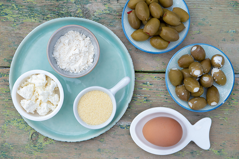 Ingredients deep-fried stuffed olives