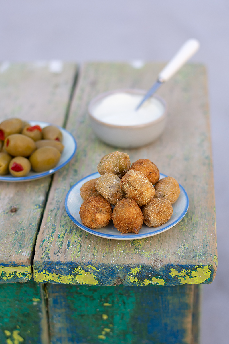 Katerina's deep-fried stuffed olives with ouzo dip