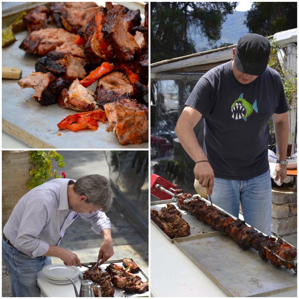Rik-and-Vangelis-cut-the-meat-for-the-Easter-Feast