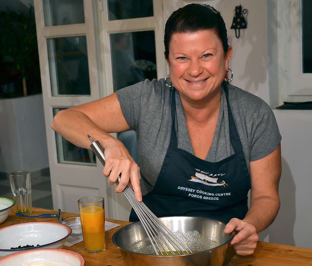 Elisabeths Greek cooking lessons at Odyssey on Poros