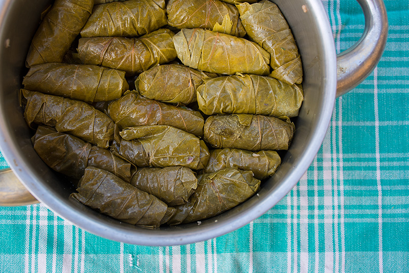 A pan full of Greek Dolmades