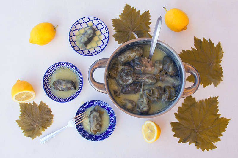 Greek Dolmades with egg-lemon sauce
