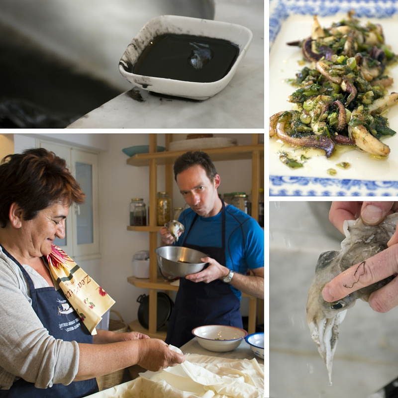Preparing cuttlefish during Greek cooking class