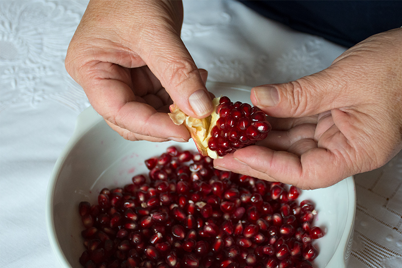 Gathering the pomegranates