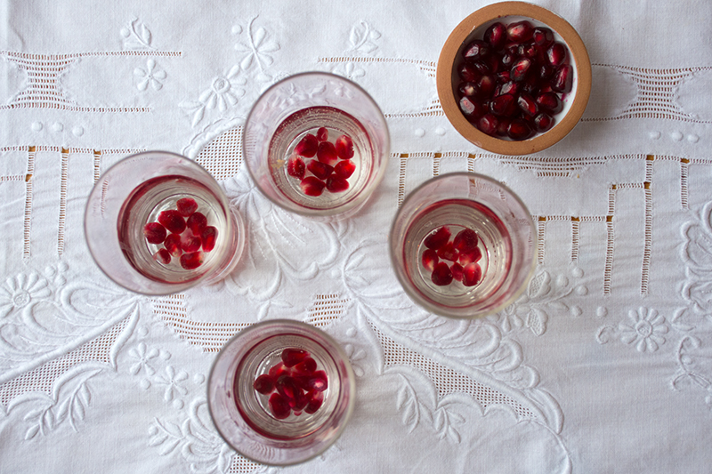 Ouzo with pomegranates