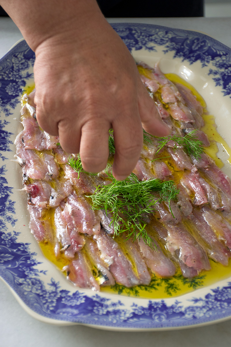 Herbs for the marinated raw anchovies Odyssey Poros Greece