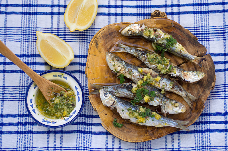 Grilled Sardines Odyssey Poros Greece