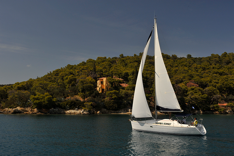 Sailing around Poros in Greece