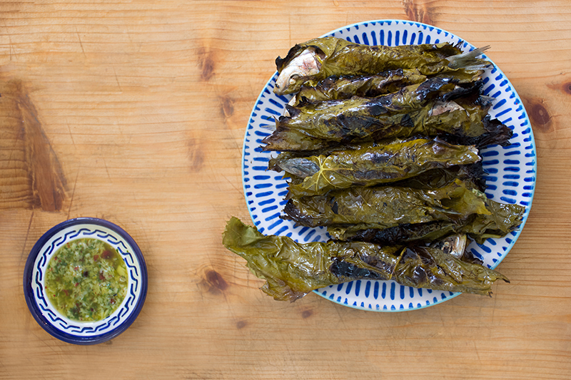 Katerinas grilled sardines in grape leaves with lemon-sauce Poros Greece