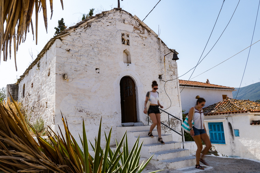 Walking Poros-town in Greece during the yoga holiday