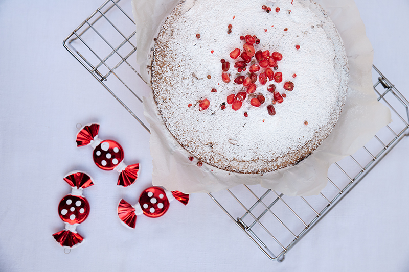 Red peppercorn and pomegranate cake Odyssey Poros Greece Christmas recipes