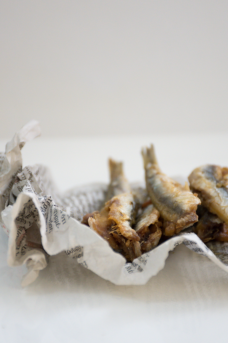 Fried anchovies at Odyssey Poros Greece