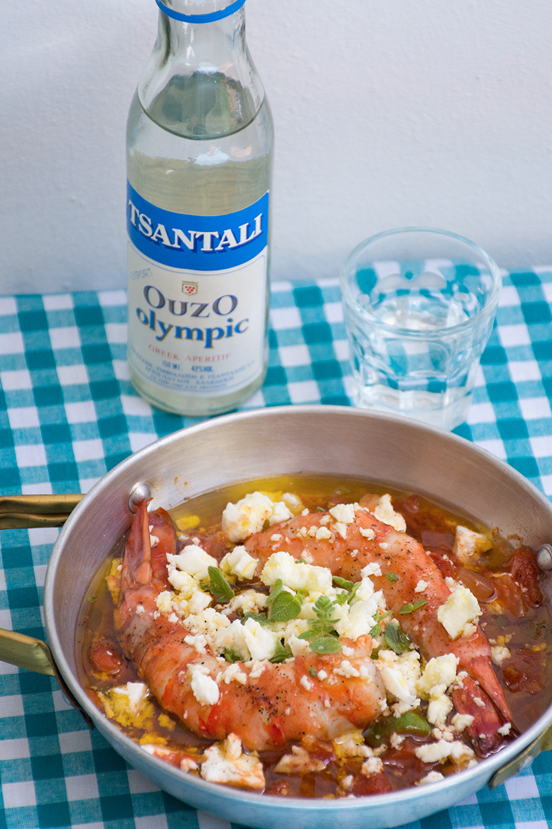Katerina's Prawn Saganaki Odyssey Poros Greece fish recipes
