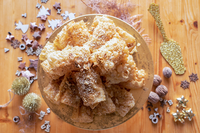 Diples Greek pastry with honey and walnuts