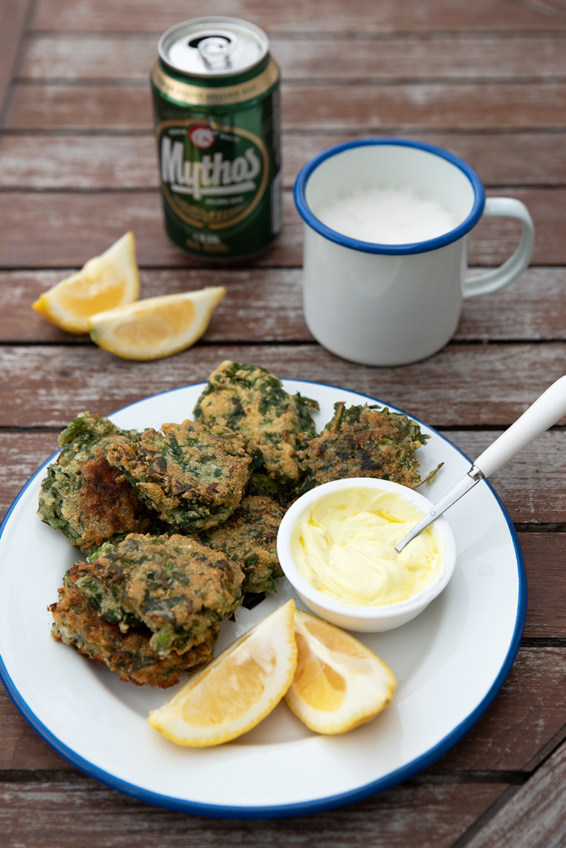 Greek horta fritters with yoghurt sauce