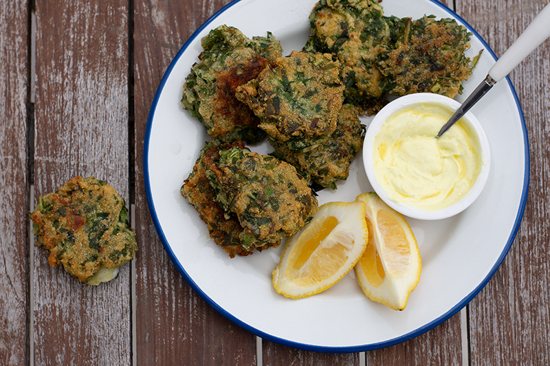Horta fritters with yoghurt sauce
