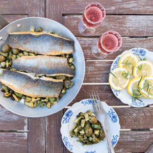 Sea-bass with zucchini and olives Odyssey