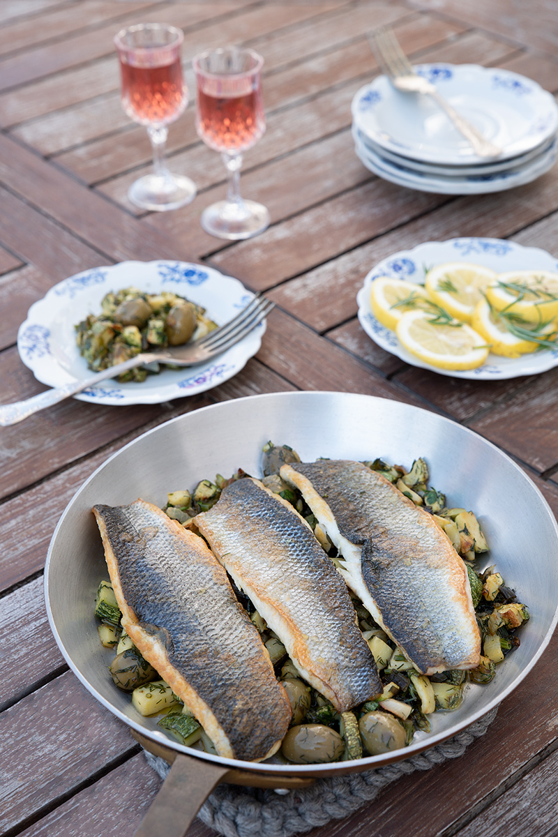Sea-bass with zucchini and olives Poros Greece
