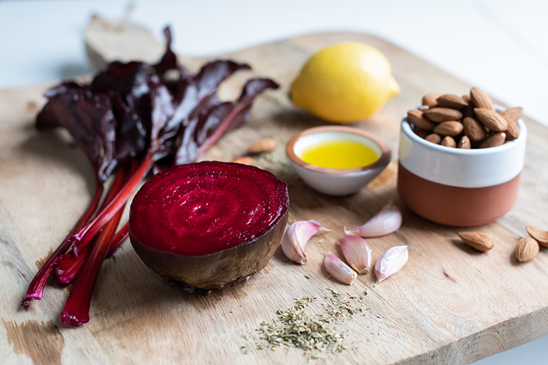 Ingredients beetroot and almond dip